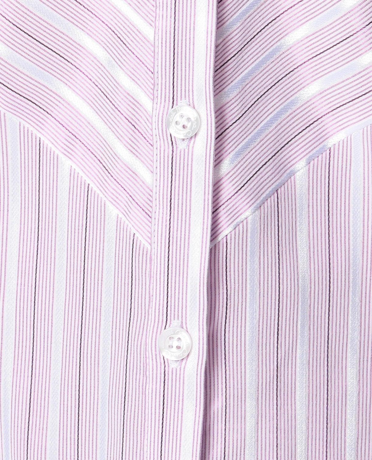 イタリアン細ストライプ切り替えスタンドカラーシャツ
