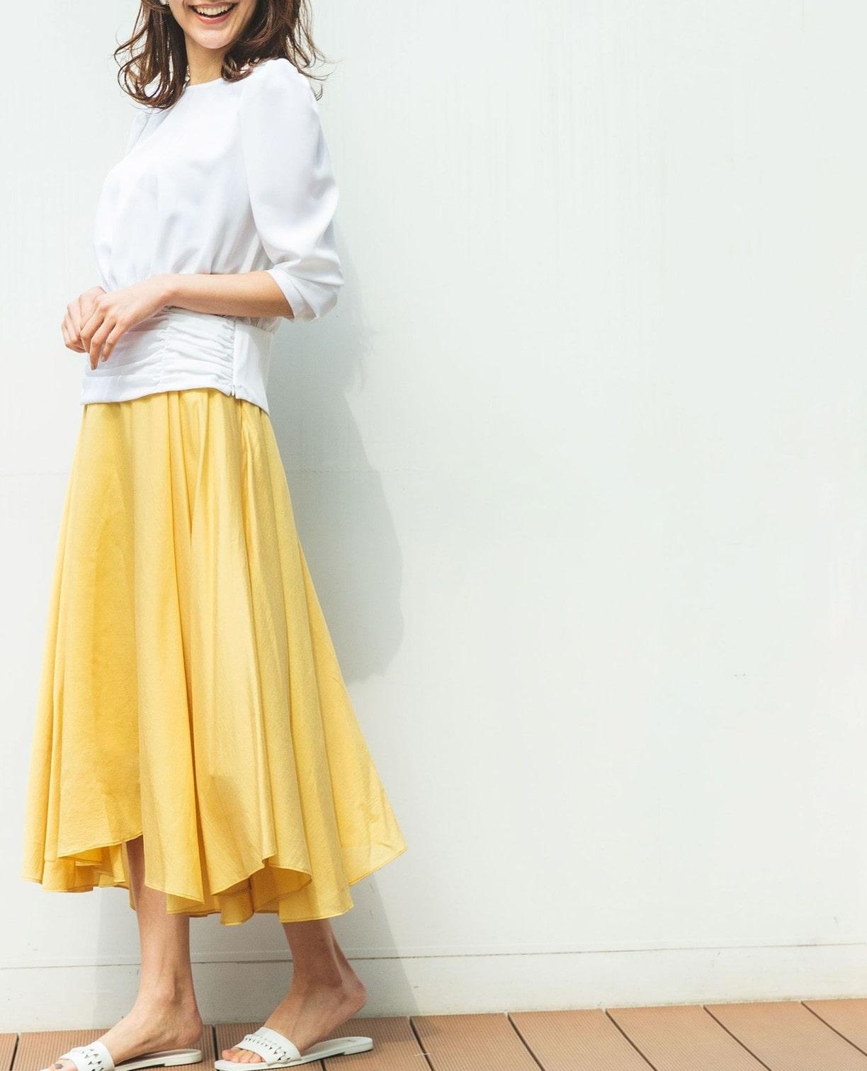シアー量感フレアースカート