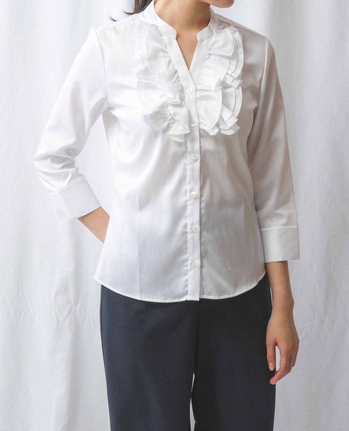 衿無しフリル七分袖ブラウス