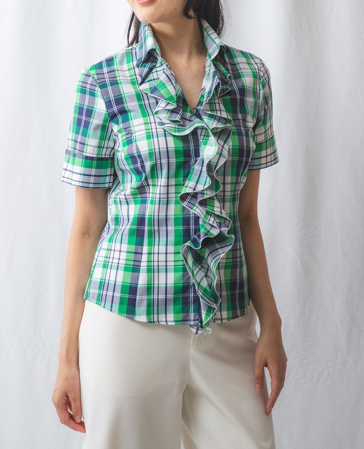 サマーチェック襟付きフリル半袖シャツ
