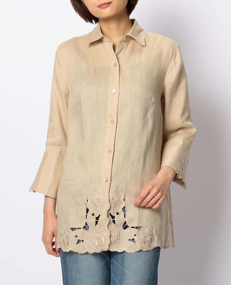 イタリアン麻裾カットワークチュニックシャツ