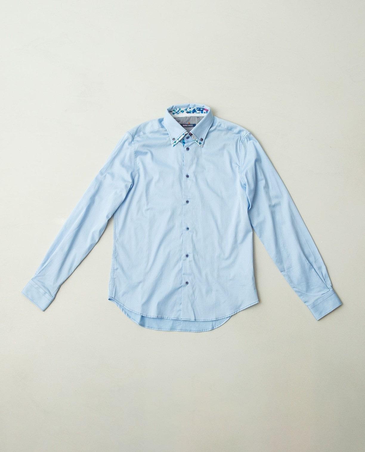 花柄5重衿ボタンダウン長袖シャツ