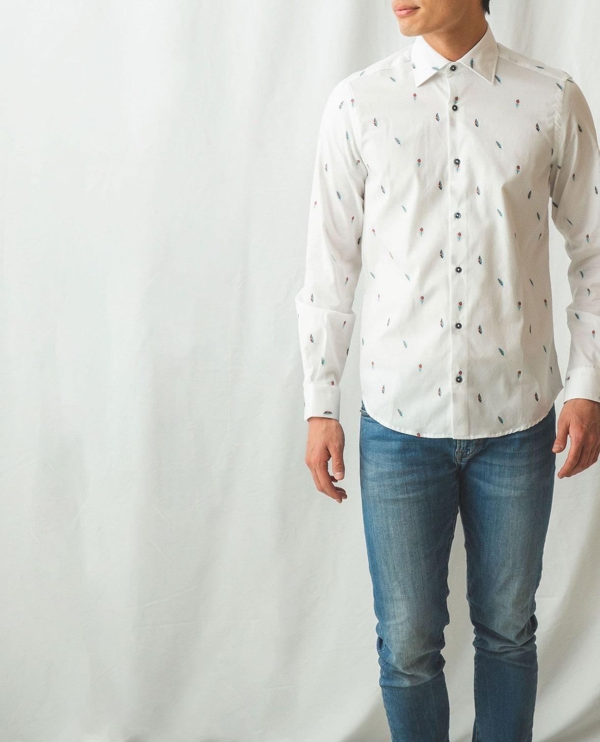 羽根柄長袖シャツ