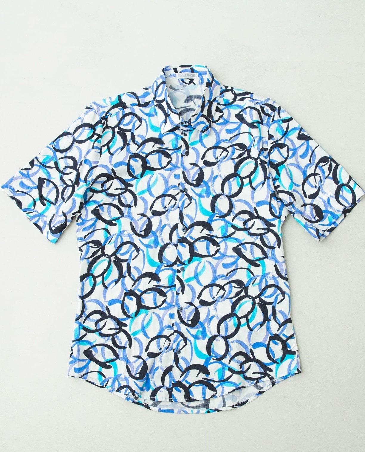 サークル柄半袖シャツ