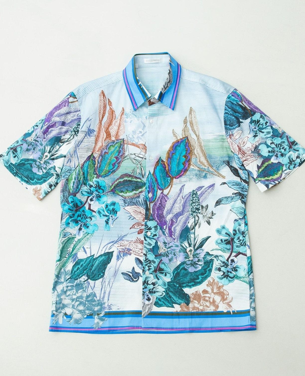 ボタニカルプリント半袖シャツ