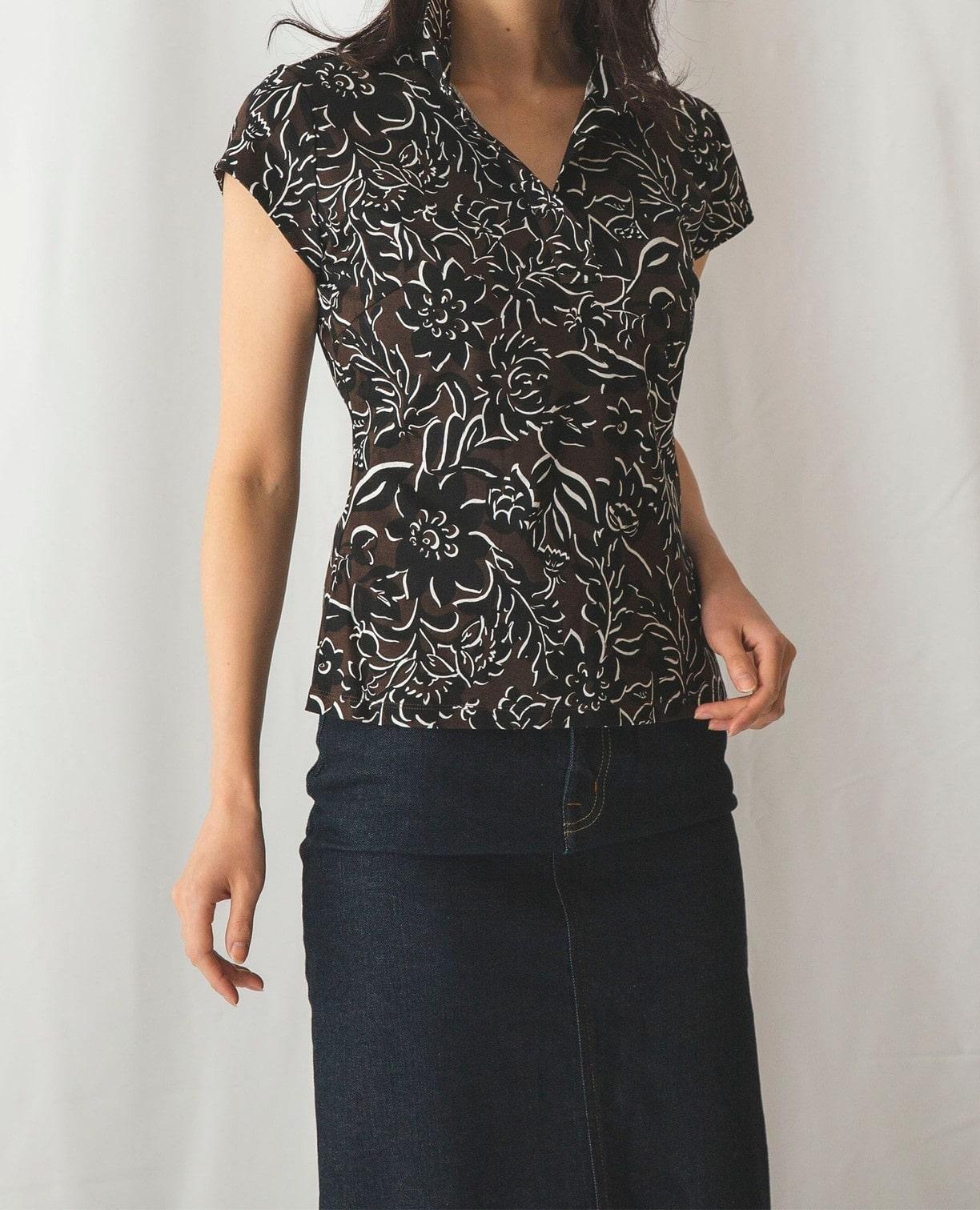 トロピカルフラワープリントスタンドカラーカットソーシャツ