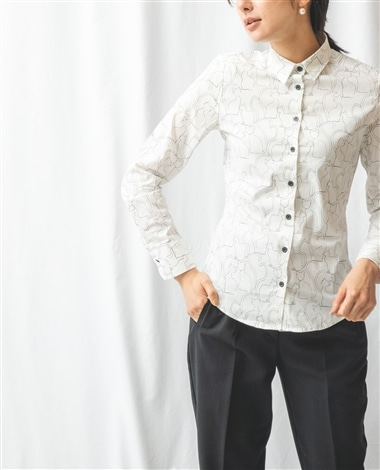 キャットプリント長袖シャツ