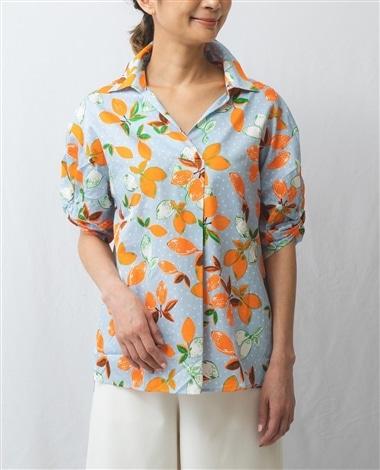レモンプリント半袖プルオーバーシャツ