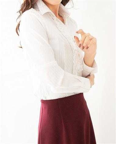 変形綾織りストライプストレッチ襟付きフリルシャツ