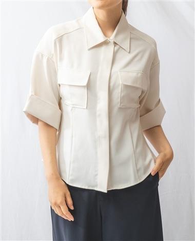マットサテンミリタリー風半袖シャツ