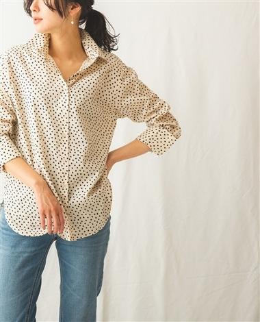 綿系ミニドットドロップショルダーシャツ