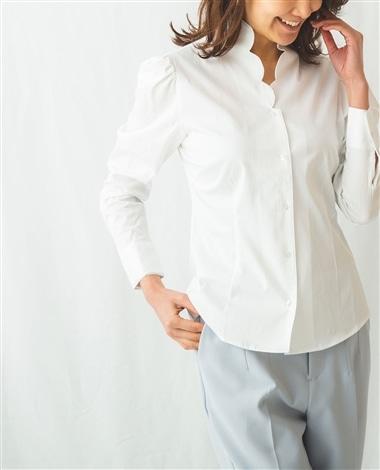 スカラップカラーパフスリーブシャツ