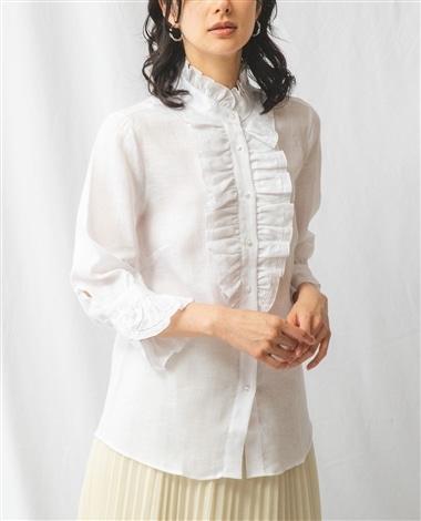 麻フリル七分袖シャツ