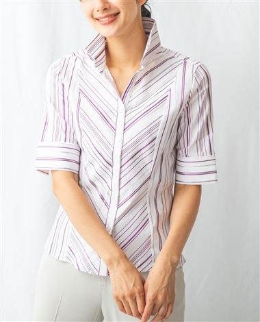 ストライプスーパーストレッチスタンドカラーシャツ