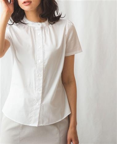 コットンツイルミニレース付き半袖シャツ