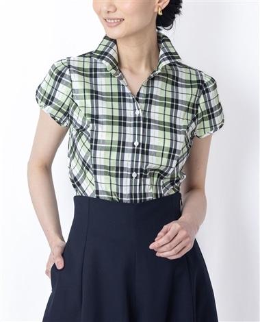 シャイニーチェックストレッチスタンドカラー半袖シャツ