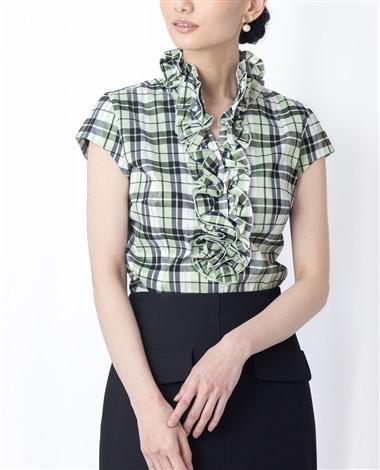 シャイニーチェックストレッチフリル半袖シャツ