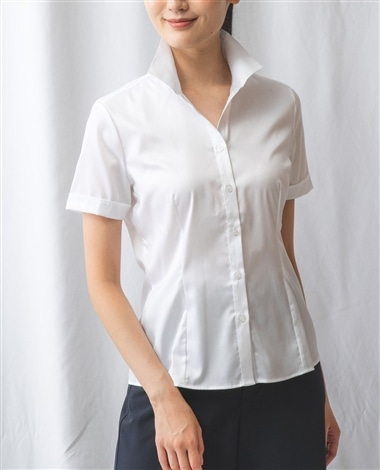 コットンツイルスタンドカラー半袖シャツ