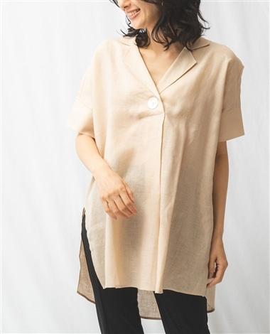 麻シェル釦シャツ