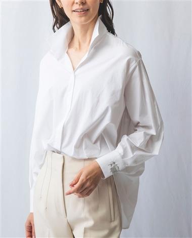 スタンドカラー袖タックシャツ