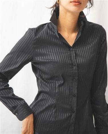 変形綾織りストライプストレッチ長袖シャツ
