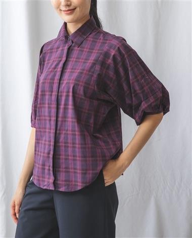 先染めチェックボリュームスリーブシャツ