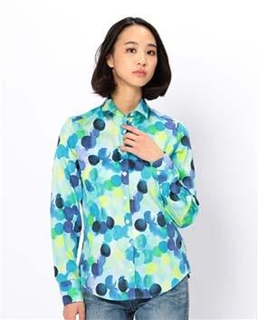 水彩ドットプリント長袖シャツ