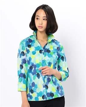 水彩ドットプリントスタンドカラー七分袖シャツ