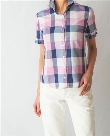 ブロックチェック半袖フリルシャツ