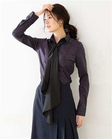 サテンストライプリボン付長袖シャツ
