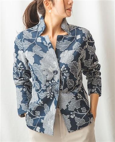 フラワーモチーフジャカードシャツ