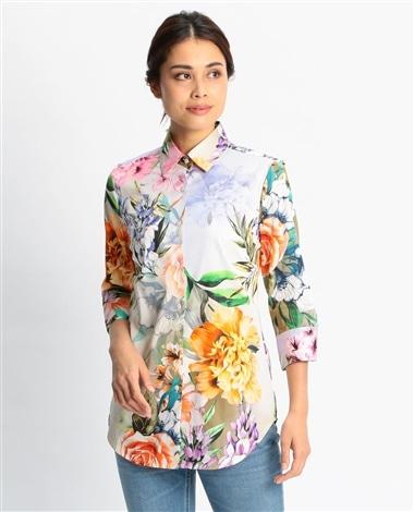 ビックフラワープリント七分袖シャツ