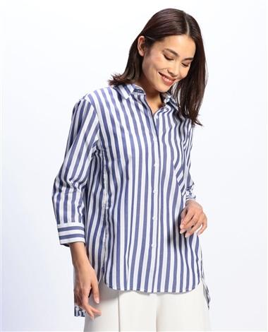 ストライプアイレット七分袖シャツ