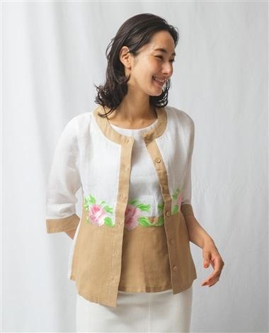 フラワー刺繍ノーカラー七分袖ブラウス