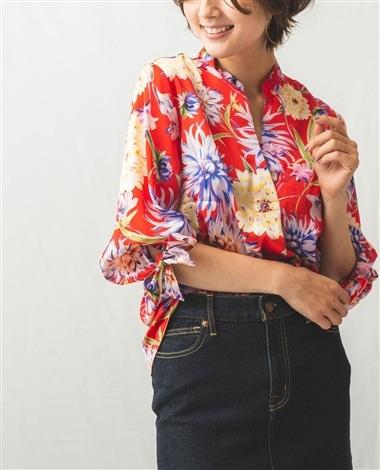 フラワープリントスタンドカラー七分袖シャツ