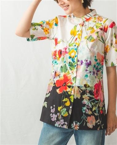 フラワープリントマオカラー半袖シャツ