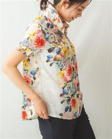 コットンストレッチ花柄半袖シャツ