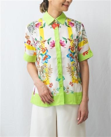 パネル調花柄半袖シャツ
