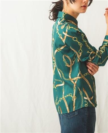 ヴィンテージスカーフプリント長袖シャツ