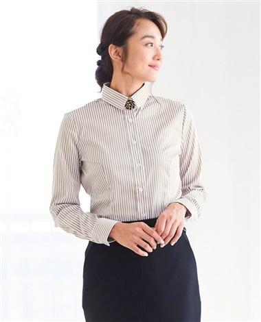 ロンドンストライプベーシックカラー長袖シャツ