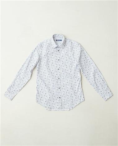 コットン小花柄長袖シャツ