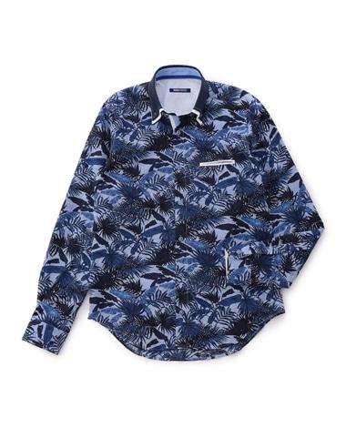 ボタニカルプリント長袖シャツ