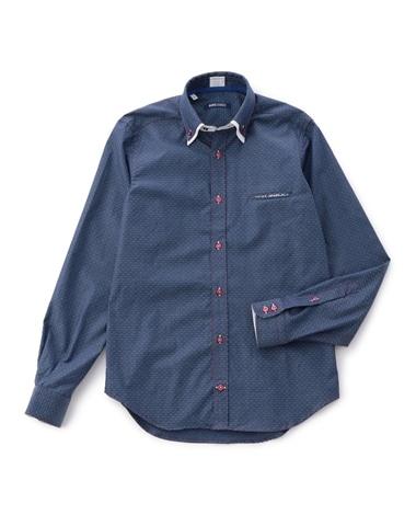 2枚衿ボタンダウンドビー長袖シャツ