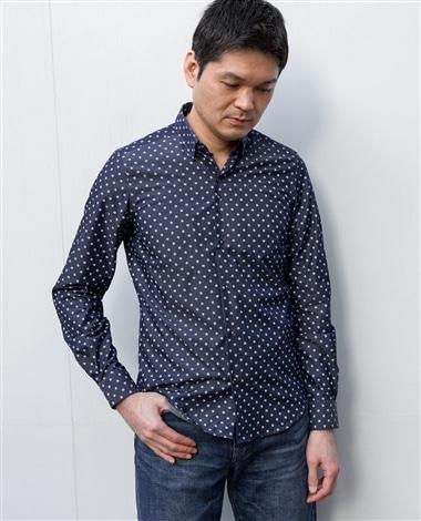 小花柄長袖シャツ