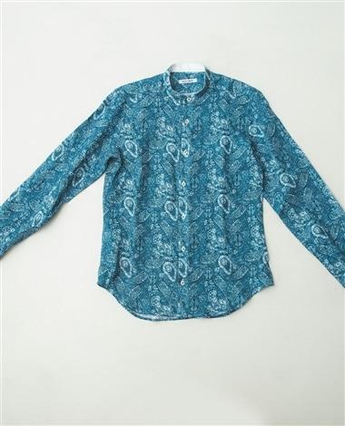 ペイズリー柄麻バンドカラー長袖シャツ