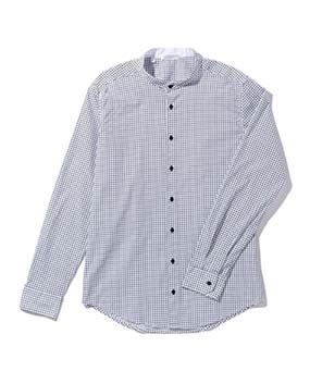 【MEN'S】ブロックチェックバンドカラー長袖シャツ