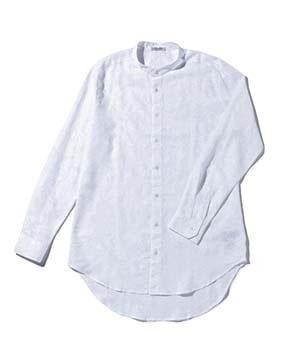 【MEN'S】透かしフラワー柄バンドカラー長袖シャツ