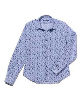 【MEN'S】フラワーモチーフ綿麻長袖シャツ