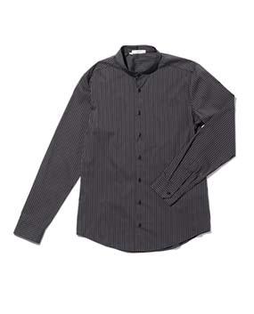 【MEN'S】ストライプバンドカラー長袖シャツ