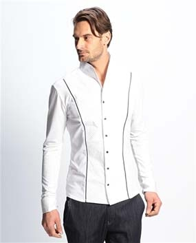 【MEN'S】ピンタックスタンドカラー長袖シャツ